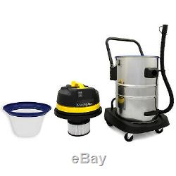Industrial Vacuum Cleaner Wet & Dry Extra Powerful Stainless Steel 60L Hoover