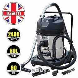 Kiam 2400 watt Twin motor Industrial Vacuum Cleaner KV60-2 with 2 Bypass motors