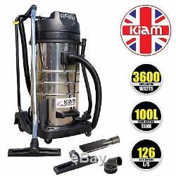 Kiam KV100 100L Industrial 3 Motor 3600W Wet & Dry Vacuum Cleaner Gutter Hoover