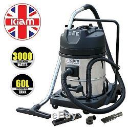 Kiam KV60-3 60L Industrial TRIPLE Motor 3000W Wet & Dry Vacuum Cleaner Gutters