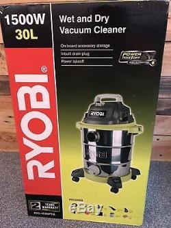 (RRP £189) Ryobi 30L 1500W Stainless Steel Wet Dry Home/Workshop Vacuum