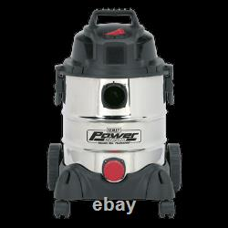 Sealey PC200SD Vacuum Cleaner Industrial Wet & Dry 20ltr 1250With230V Stainless