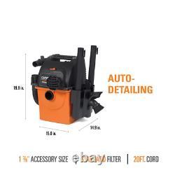 5-gal Shop Vacuum Humide À Sec Mur-mount Nettoyeur De Vapeur De Voiture Portable Ridgid Nouveau