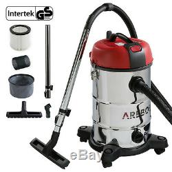 Arebos Aspirateur Industriel Humide Sec Ash Extracteur 1800w 30l En Acier Inoxydable