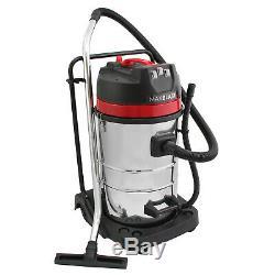 Aspirateur Industriel Wet & Dry Vac Extra Puissant En Acier Inoxydable 80l 3000w