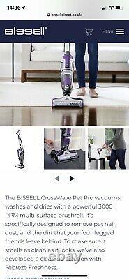 Bissell Crosswave Avancée Pet Pro A Peine Nettoyeur De Sol À Vide