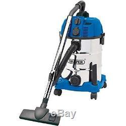 Draper 30l 1600w Wet & Dry Aspirateur Avec Intégré 230v Socket