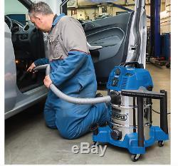 Draper 30l Wet & Dry Vacuum Cleaner Hover Linking Builtin 230v Outil D'alimentation