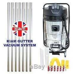 Kiam Gutter Cleaning System Kv80-3, Aspirateur Pour Déchets Secs Et Humides Et Kit De Perche De 28 Pi, 8,4 M