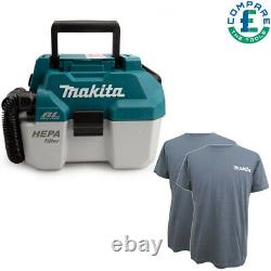 Makita Dvc750lz 18v Lxt Bl Nettoyeur À Vide À Sec + 2 X T-shirt De Travail Extra Grand