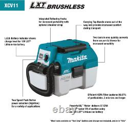 Makita Xcv11z 18v Lxt Li-ion Brushless Sans Fil 2 Gallons Hepa Aspirateur Sec / Humide