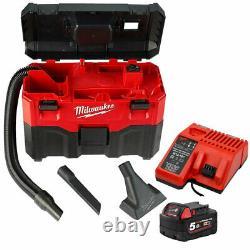 Milwaukee M18vc2 18v Aspirateur Humide/sec Avec Batterie Et Chargeur 1 X 5.0ah