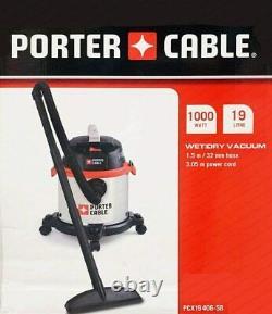 Porter Cable Wet & Dry Aspirateur 19l, 1.5m Tuyau Pcx19406-5b, Noir