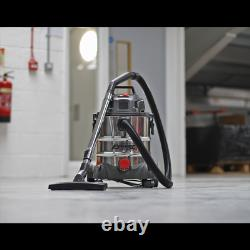 Sealey Nettoyeur À Vide Industriel Humide Et Sec 20ltr 1250w 230v 240v Acier Inoxydable
