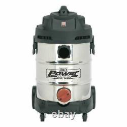 Sealey Pc300sd Nettoyeur À Vide Industriel 30ltr 1400 With230v Stainless Bin